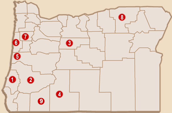 Map Of Casinos In Oregon Oregon Indian Casinos